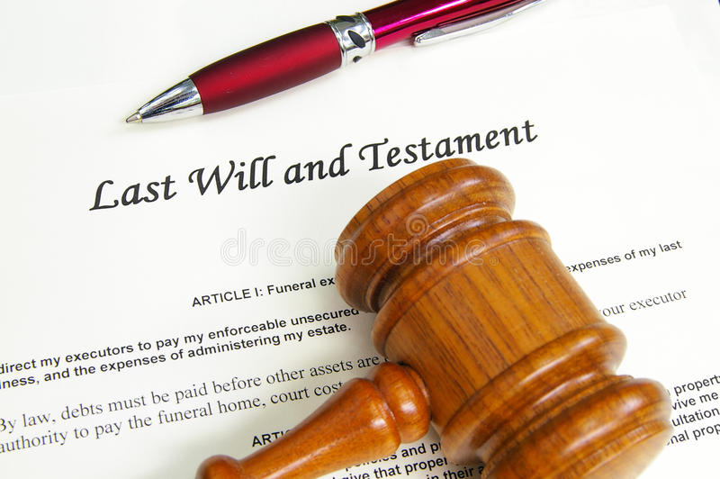 Last will. And Testament document with gavel and pen stock photos