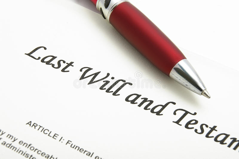 Last Will. Closeup of a Last Will and testament document royalty free stock photography
