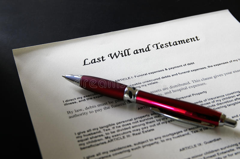 Last will. Legal document and pen royalty free stock image