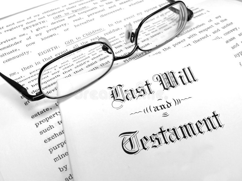 Last Will and Testament. Envelope with Last Will and Testament stock image