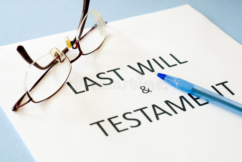 Last will and testament. On blue background royalty free stock image