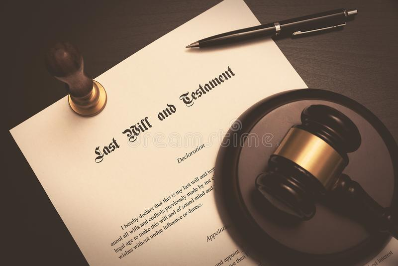 Last Will and Testament concept stock images