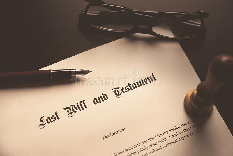 Last Will and Testament concept. Fountain pen, seal on desk stock photos