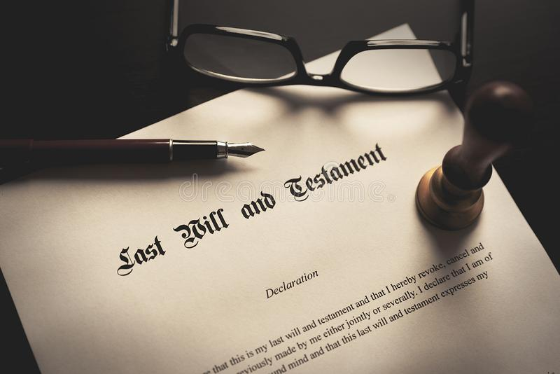 Last Will and Testament concept. Fountain pen, seal on desk royalty free stock image