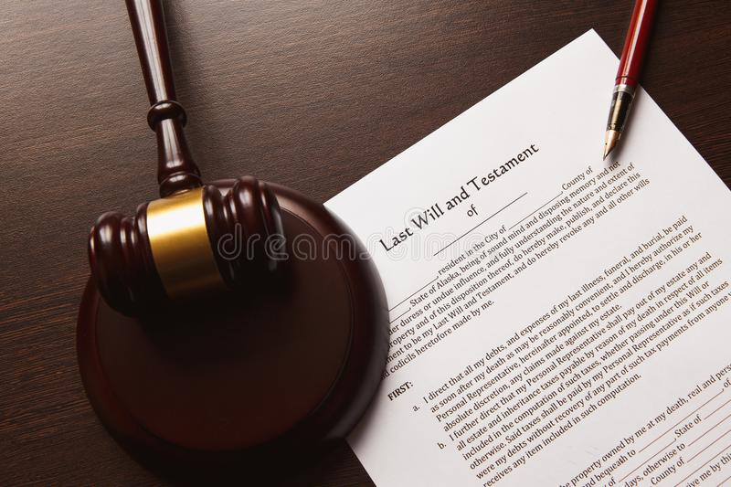 Last will and testament. Concept royalty free stock images