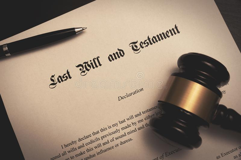 Last Will and Testament concept. Pen, gavel on desk royalty free stock photography