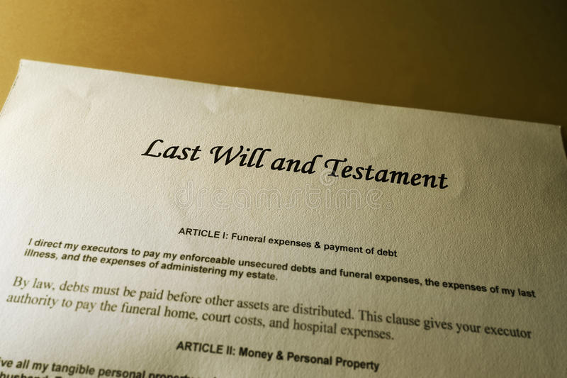 Last will. And Testament document royalty free stock photography