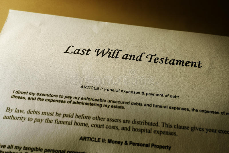Last will. And Testament document stock photo