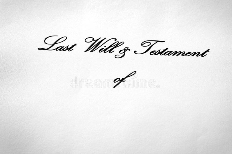 Last Will and Testament Document Gift Giving Devise. Inheritance royalty free stock photos