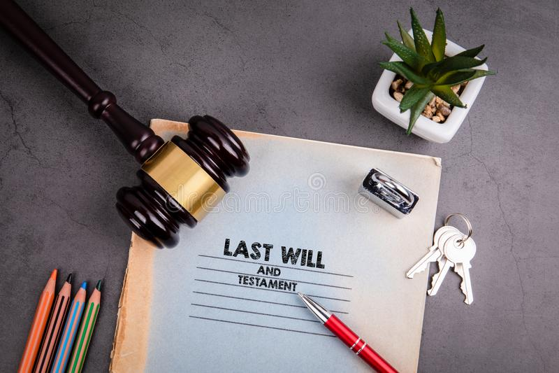 Last will and testament, fair justice and human rights concept. Last will and testament,  fair justice and human rights concept. Notebook and pen on gray desk stock photos