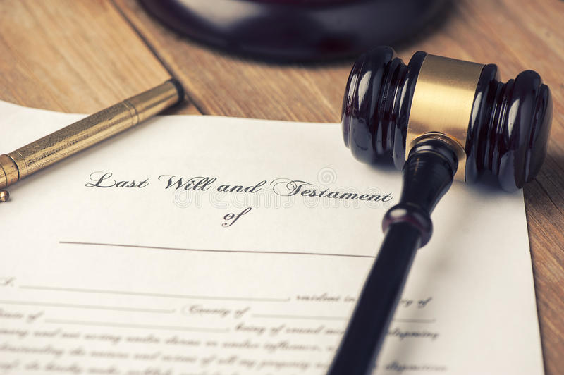 Last will and testament form with gavel stock image
