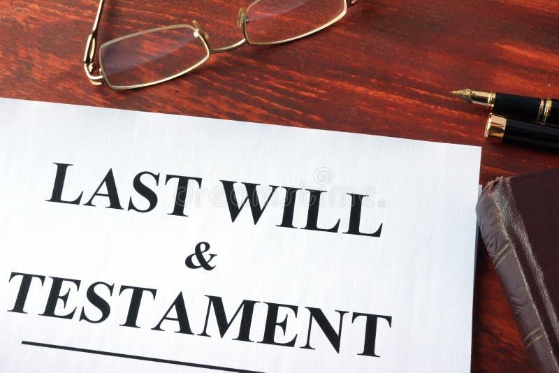 Last Will & Testament form. Last Will & Testament form on a table stock photos
