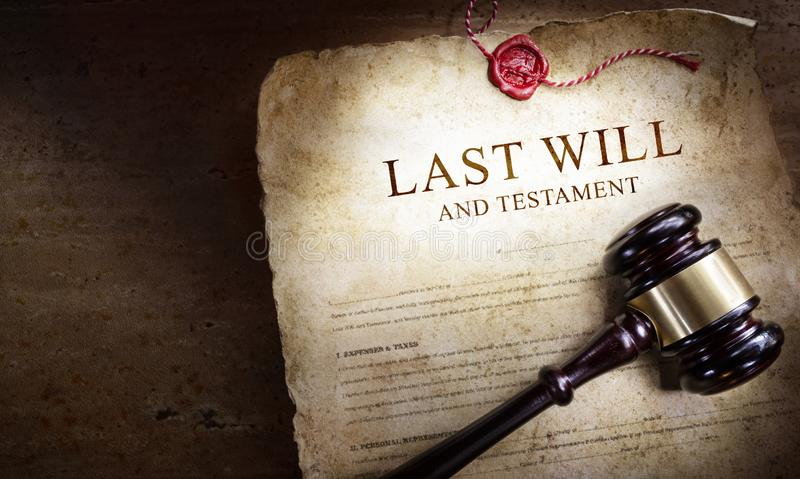 Last Will And Testament With Gavel royalty free stock image