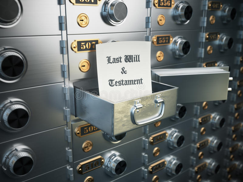Last will and testament in the safe deposit box. Heritage concept. 3d royalty free illustration