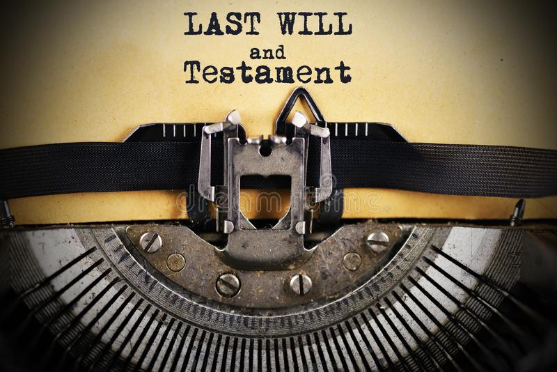 Last will and testament typed on aged paper with vintage typewriter royalty free stock photos