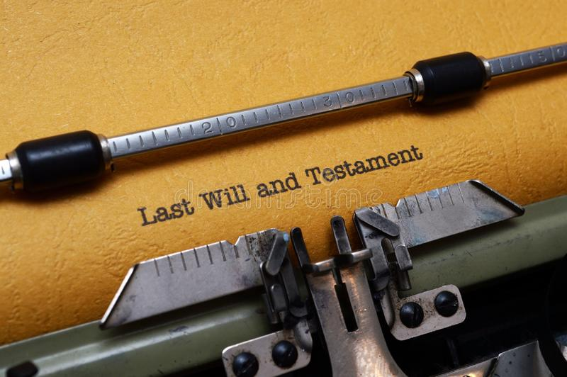 Last will and testament on typewriter stock images