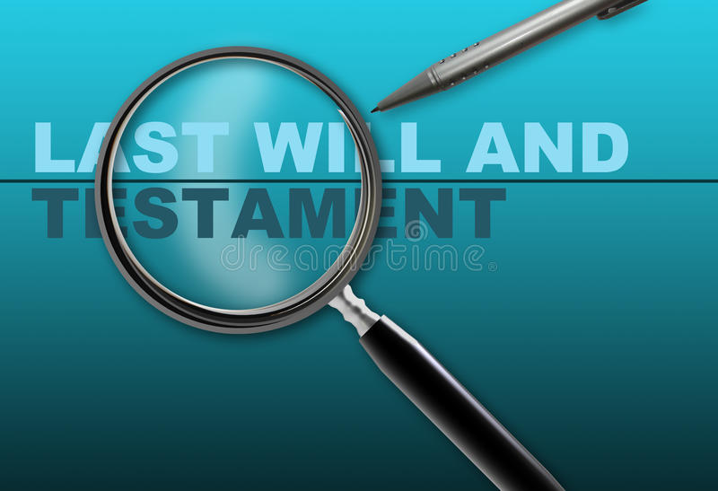 Last will and testament. Word last will and testament and magnifying glass with pencil made in 2d software on gradient background royalty free illustration