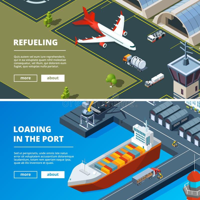 Lastbegreppsbaner Horisontalbilder av fraktleveranstransport vektor illustrationer