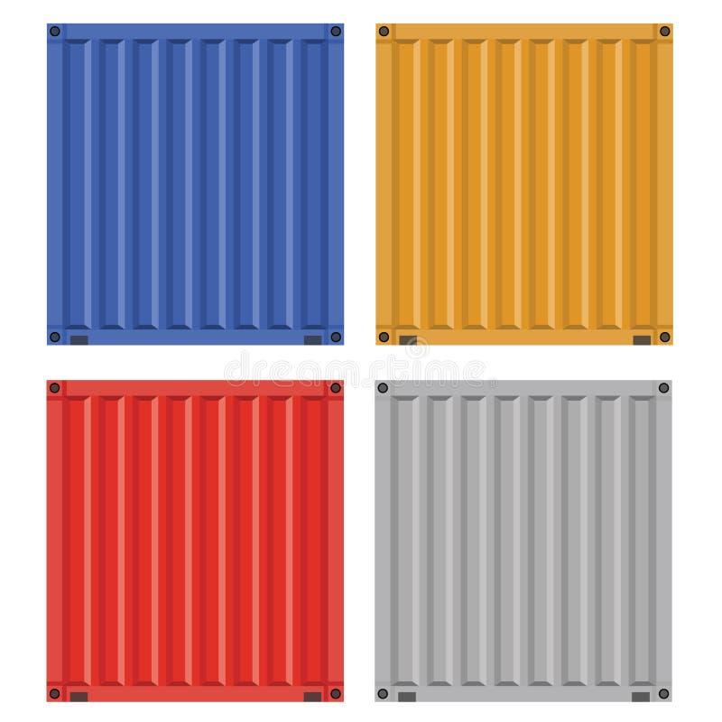 Lastbehållare för sändning med plan design för fast färg vektor illustrationer
