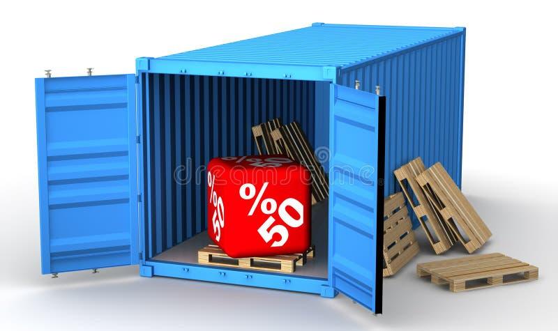 Lastbehållare med rabatt för femtio procentsats vektor illustrationer