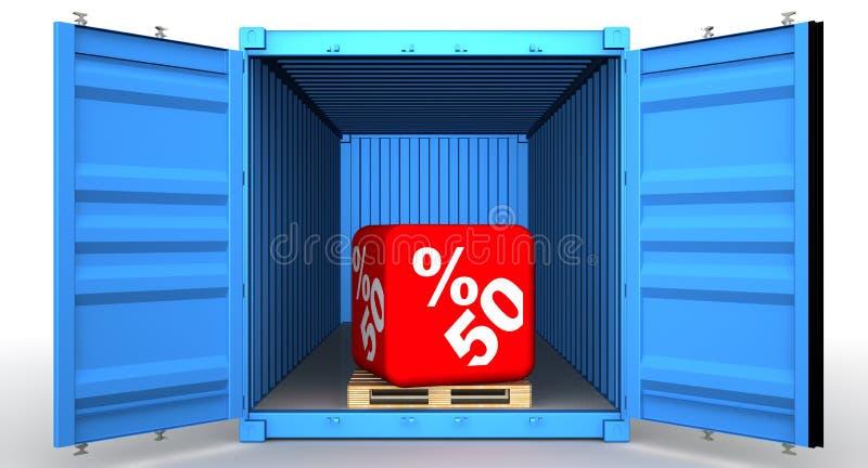 Lastbehållare med rabatt för femtio procentsats royaltyfri illustrationer