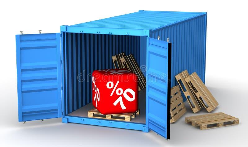 Lastbehållare med rabatt för sjuttio procentsats royaltyfri illustrationer