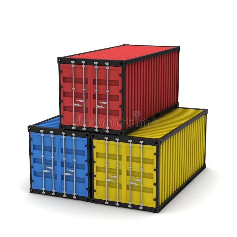 lastbehållare tre stock illustrationer