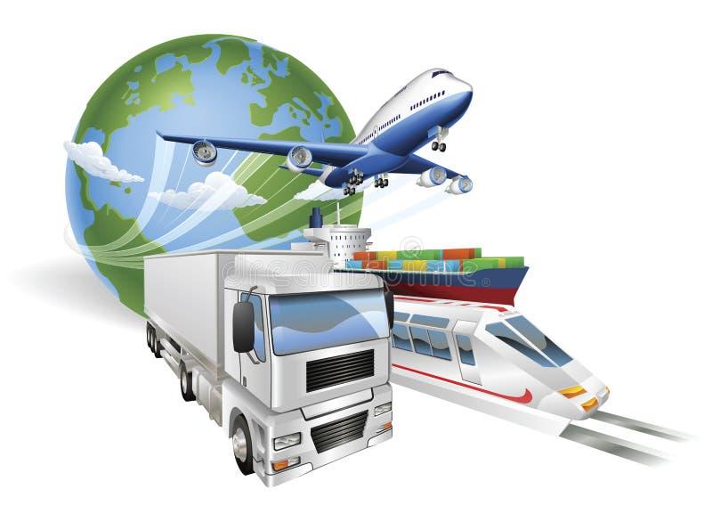 lastbil för drev för ship för logistik för flygplanbegrepp global royaltyfri illustrationer