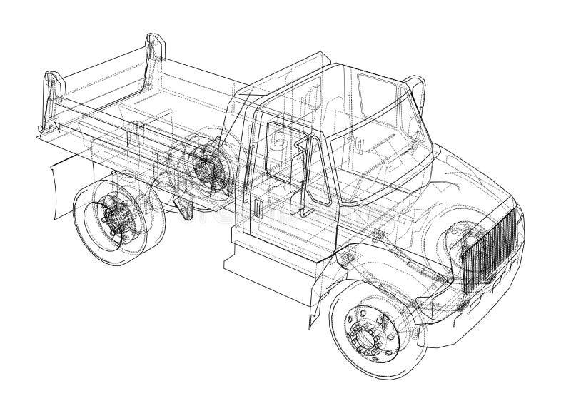 lastbil för förrådsplatsgrävskopahav illustration 3d vektor illustrationer