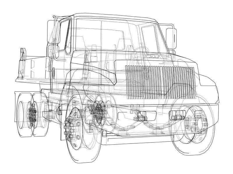 lastbil för förrådsplatsgrävskopahav vektor stock illustrationer