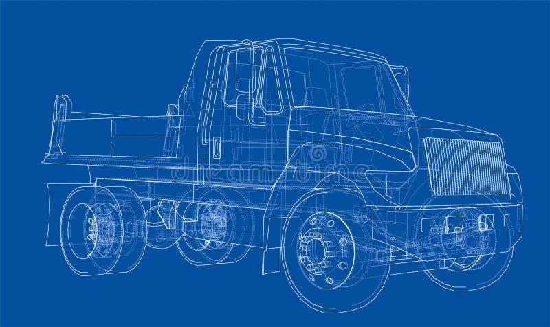 lastbil för förrådsplatsgrävskopahav vektor vektor illustrationer