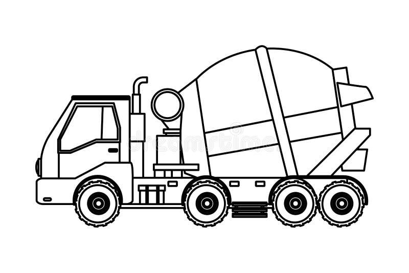 Lastbil för konstruktionsmedelcement i svartvitt royaltyfri illustrationer