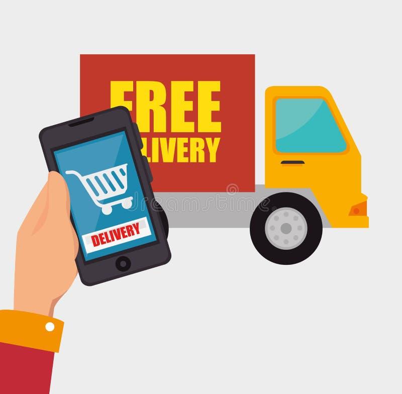 lastbil för shopping för leverans för handhållsmartphone royaltyfri illustrationer