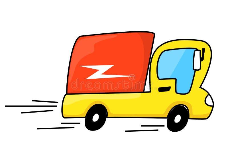 Lastbil för tecknad filmstilleverans i hastighetsrörelse stock illustrationer
