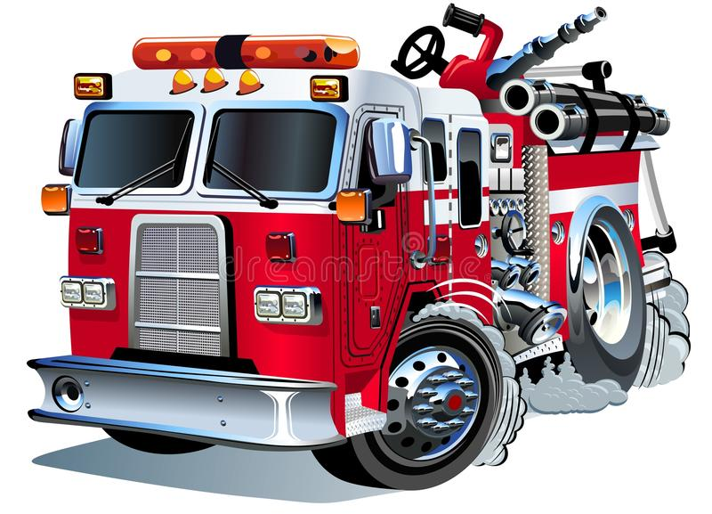 Lastbil för vektortecknad filmbrand stock illustrationer