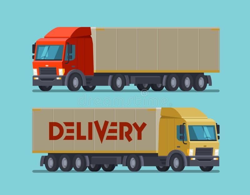 Lastbil, lastbilsymbol eller symbol Leverans sändnings, sändningsbegrepp den främmande tecknad filmkatten flyr illustrationtakvek royaltyfri illustrationer