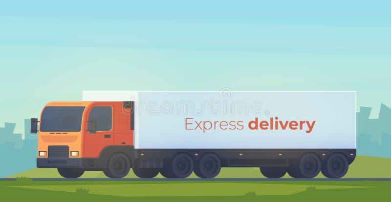 Lastbil med ensläp för leveransen av gods Logistisk service För stilillustartion för vektor vit plan isolatedon royaltyfri illustrationer