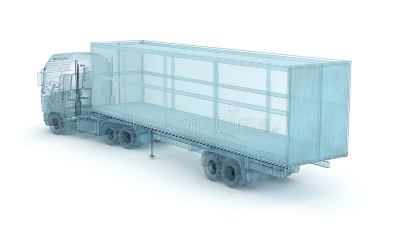 Lastbil med lastbehållaren, trådmodell Min äga design stock illustrationer