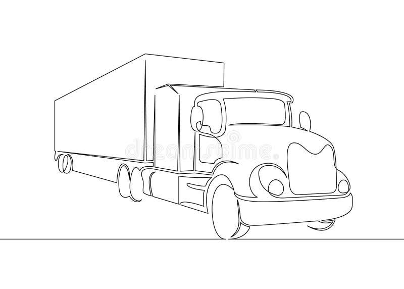 Lastbil med lastsläpkörning royaltyfri illustrationer