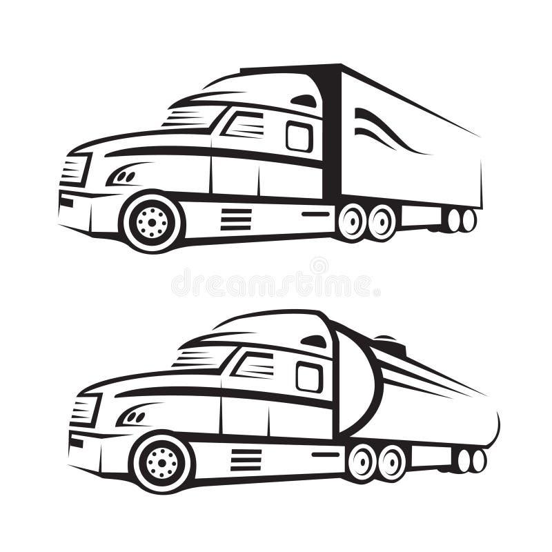 Lastbil och behållarelastbil stock illustrationer