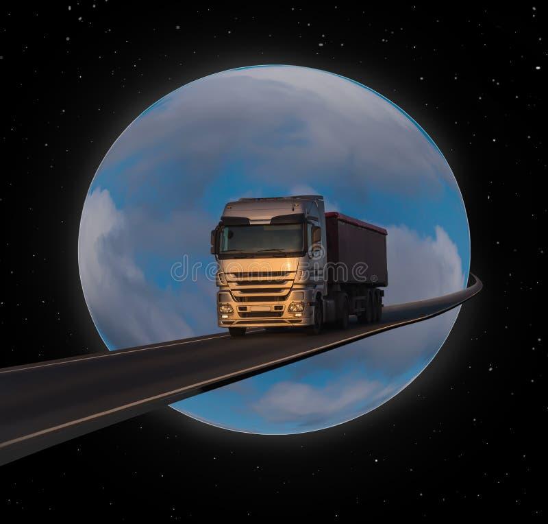 Lastbil på väg mot bakgrund av Globe fotografering för bildbyråer