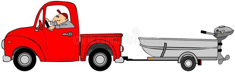 Lastbil som drar ett aluminum fartyg vektor illustrationer