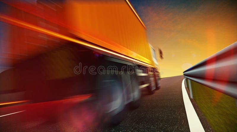 Lastbil som kör på huvudvägvägen på solnedgång vektor illustrationer