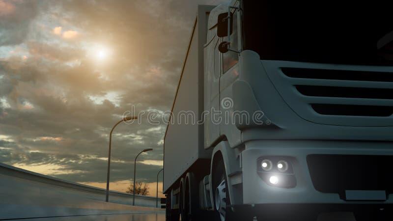 Lastbil som rusar på huvudvägen, skjuten låg-vinkel Trans. s?ndningsbranschbegrepp illustration 3d stock illustrationer