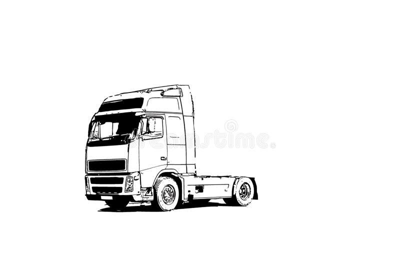 Lastbil-traktor ingen släp på vägen arkivfoto