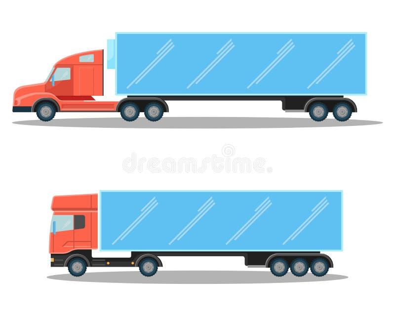 Lastbilar med små kubik- och rymliga avlånga former av kabiner stock illustrationer