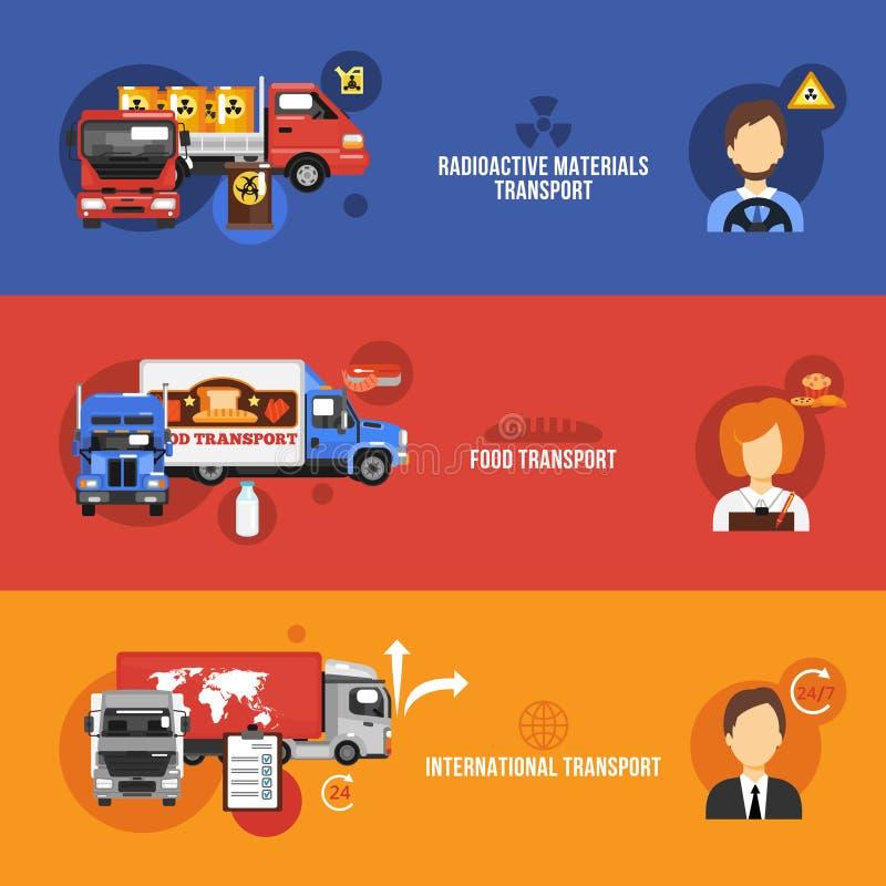Lastbilbaneruppsättning vektor illustrationer