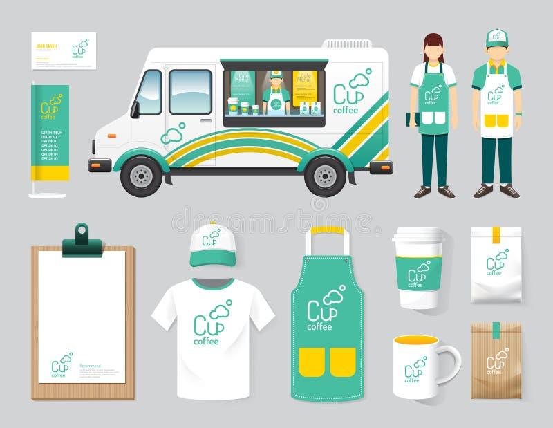 Lastbilen för mat för gatan för uppsättningen för designen för vektorrestaurangkafét shoppar, reklambladet, vektor illustrationer