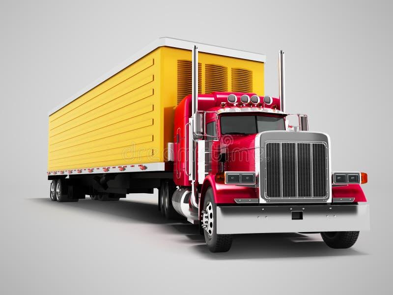 Lastbilen som är röd med den gula släpet 3d, framför på grå bakgrund med royaltyfri illustrationer