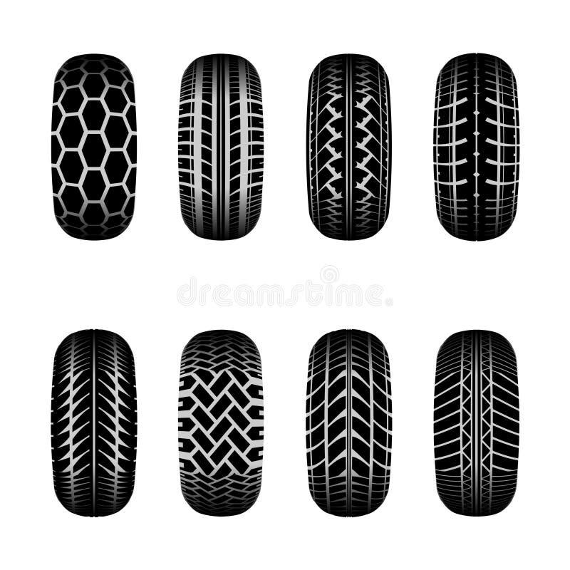 Lastbilgummihjulspår stock illustrationer